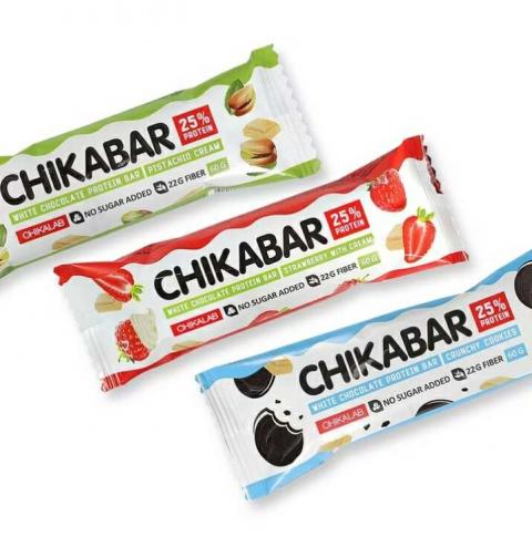 Chikalab Chikabar (60 грамм) Протеиновый батончик в глазури с начинкой / Россия