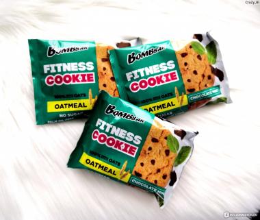 BombBar Oatmeal Fitness Cookie (40 грамм) Овсяное печенье без сахара / Россия